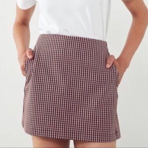 Urban Outfitters Pink Checkered Mini Skirt